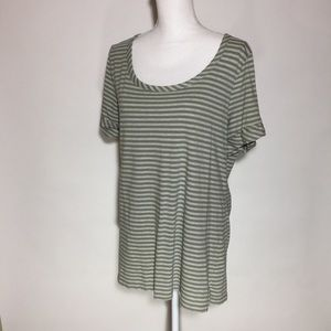 "TALBOTS green striped top size ""XL"""
